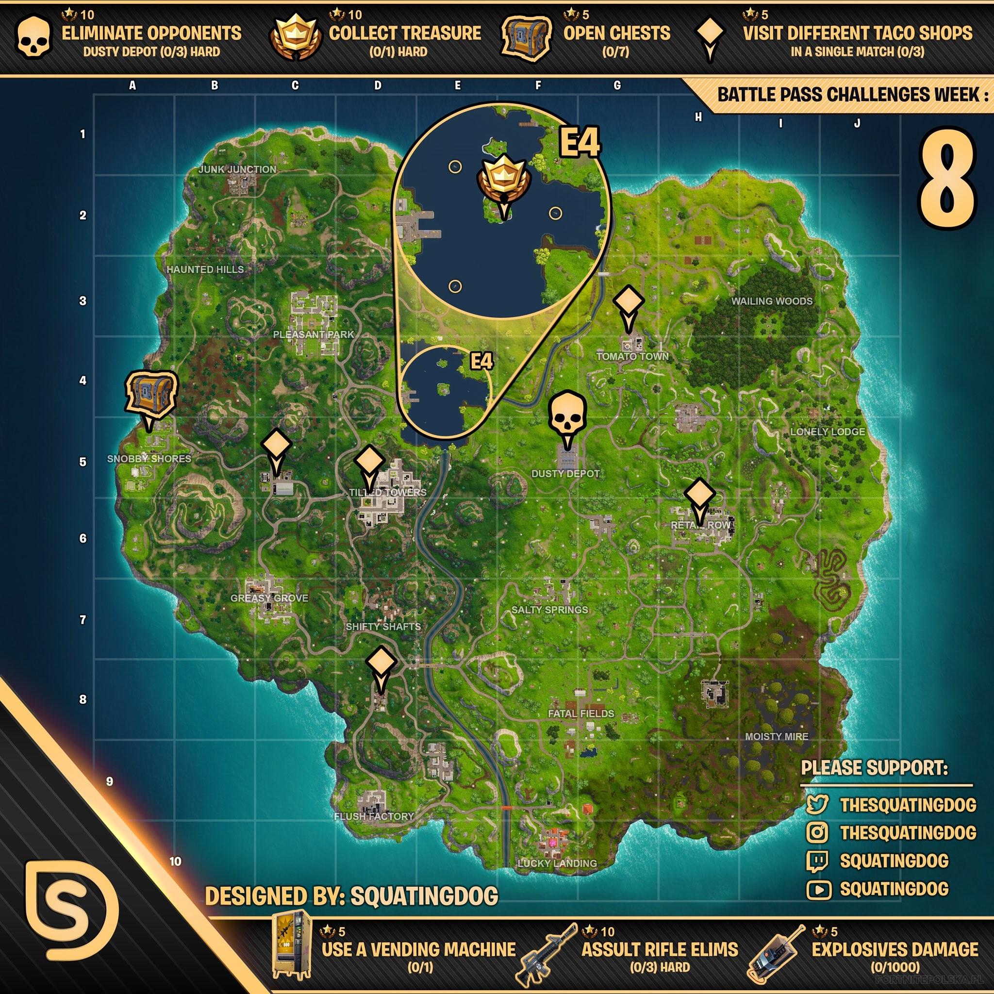 miejscowki wszystkich wyzwan - automaty na mapie fortnite sezon 8